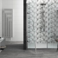 Ambient baie faianta Italia Idea Ceramica Vernissage Cenere 25x60 cm
